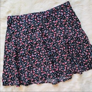 H&M Divided Button Front Skirt Black Floral Skirt
